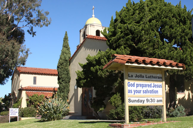 La Jolla Lutheran Church sign for 1/8/12 - God prepared Jesus as your salvation