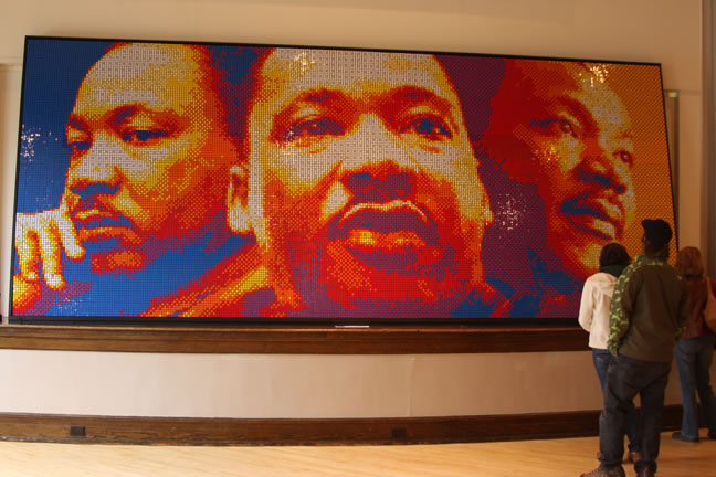 Dr. Martin Luther King mosaic made of Rubiks Cubes by Pete Fecteau