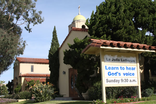 La Jolla Lutheran Church sign - Learn to hear God's voice