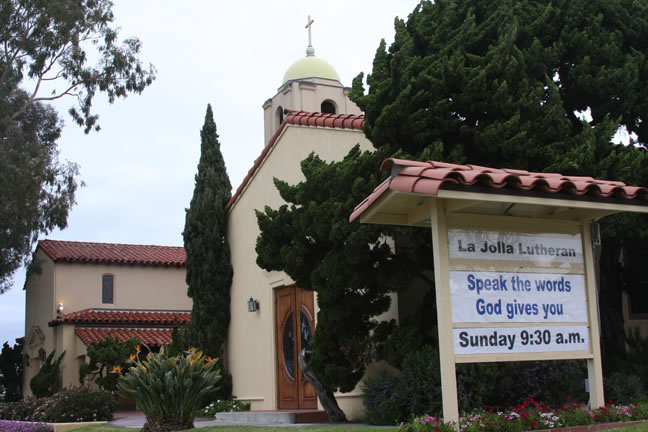 La Jolla Lutheran Church sign - Speak the words God gives you