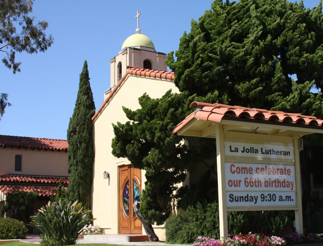La Jolla Lutheran Church sign: Come celebrate our 66th birthday