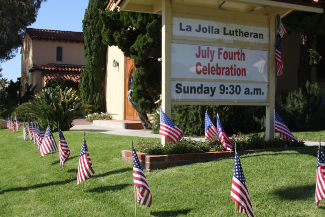 July 4 Celebration at La Jolla Lutheran Church Sunday 9:30 a.m.