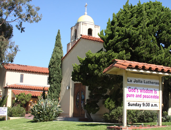 La Jolla Lutheran Church sign - God's wisdom is pure and peaceable