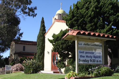 La Jolla Lutheran Church sign: Get power from the Holy Spirit