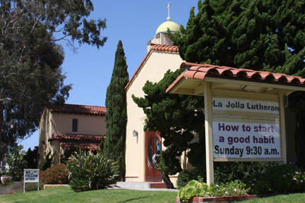 La Jolla Lutheran Church sign: How to start a good habit