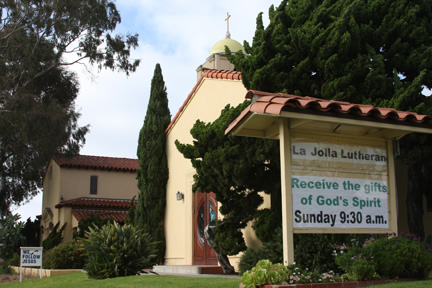 La Jolla Lutheran Church sign - Receive the gifts of the Spirit