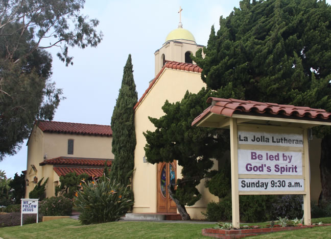 La Jolla Lutheran Church sign - Be led by God's Spirit