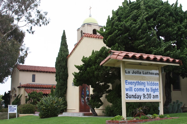La Jolla Lutheran Church sign - Everything hidden will come to light