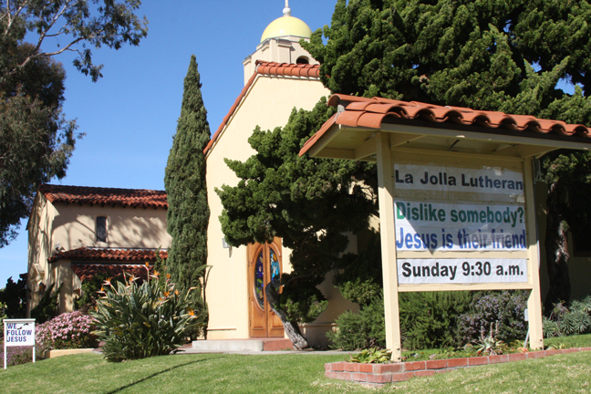 La Jolla Lutheran Church sign - Dislike somebody? Jesus is their friend