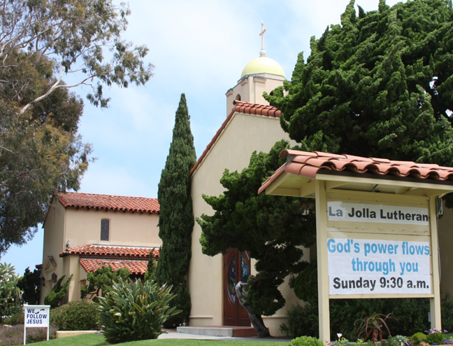La Jolla Lutheran Church Sign - God's power flows through you