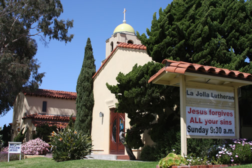La Jolla Lutheran Church sign: Jesus forgives ALL your sins