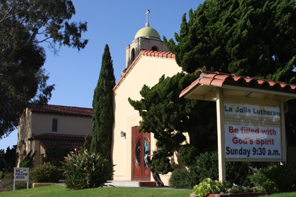 La Jolla Lutheran Church sign - Be filled with God's Spirit